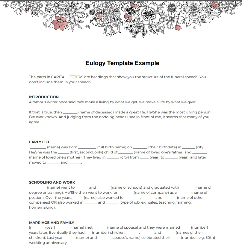 eulogy example template